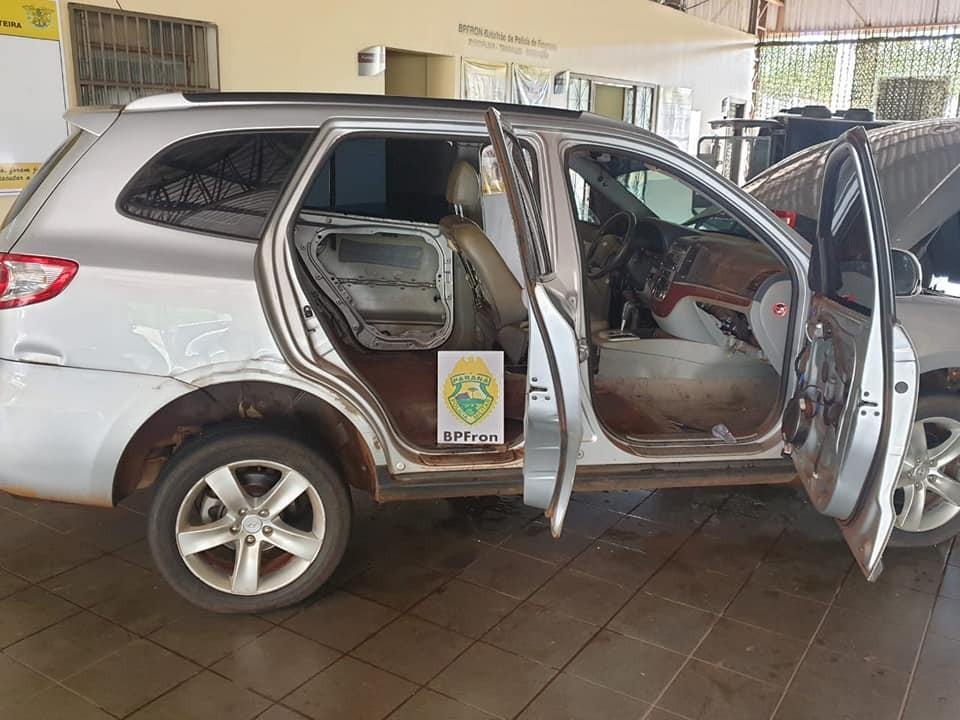 BPFron faz apreensão de veículo, arma e munições e vários produtos contrabandeados em Guaíra-PR.