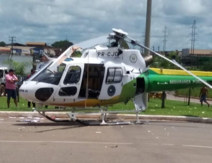 Helicóptero do governo bate a hélice em caminhão ao tentar decolar na capital (VÍDEO)