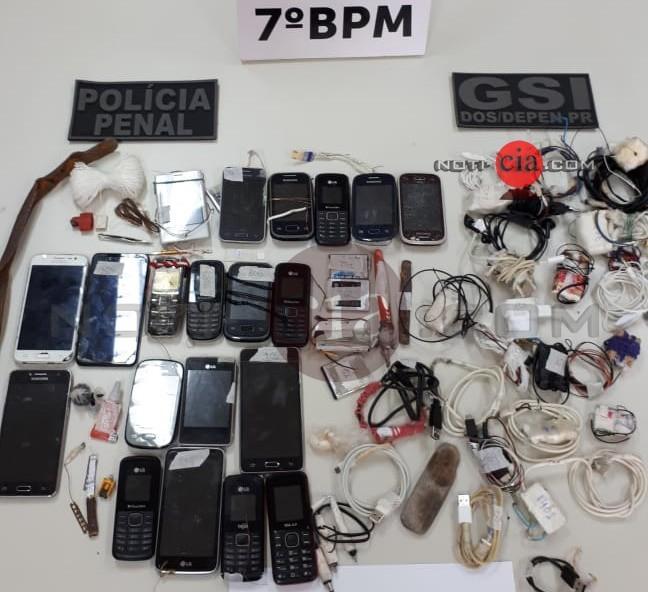 Ação conjunta entre Policiais, realizam bate grande na PECO e apreendem celulares, entorpecentes e outros objetos
