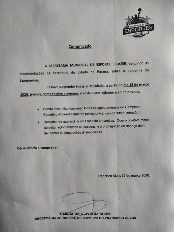 Secretaria de Esporte e Lazer suspende atividades em Francisco Alves