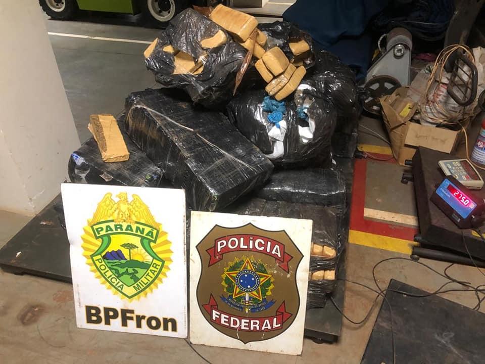 BPFron: Ações integradas resultam na apreensão de aproximadamente 300kg de maconha.
