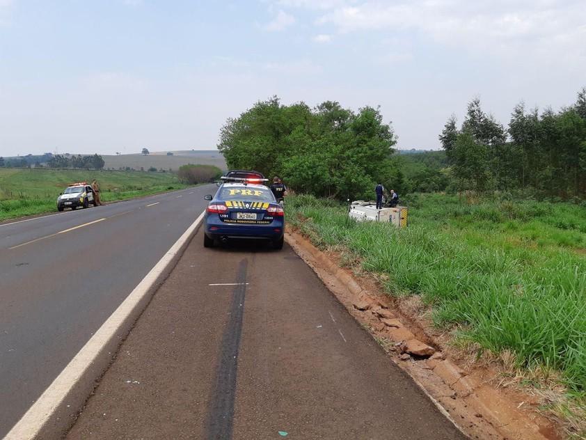 PRF atende acidente com carro-forte em Terra Roxa (PR); dois vigilantes saíram feridos